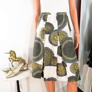 BCBGMaxAzria Pleated Floral Print Flare Skirt